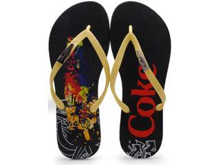 Chinelo Feminino Coca-cola Shoes Cc0642 Preto/amarelo - Tamanho Médio