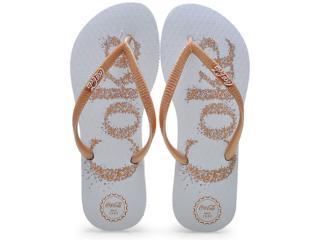 Chinelo Feminino Coca-cola Shoes Cc0483 Branco/dourado - Tamanho Médio