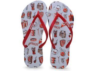 Chinelo Feminino Coca-cola Shoes Cc0636 Branco/vermelho - Tamanho Médio