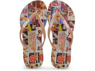 Chinelo Feminino Coca-cola Shoes Cc0198 Dourado - Tamanho Médio