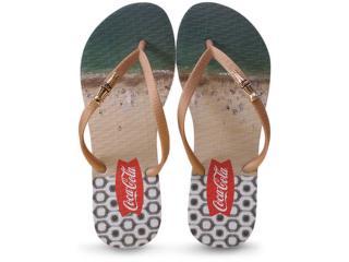 Chinelo Feminino Coca-cola Shoes Cc2086 Branco/dourado - Tamanho Médio