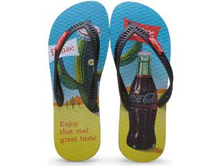 Chinelo Masculino Coca-cola Shoes Cc2077 Preto - Tamanho Médio