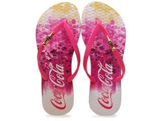Chinelo Feminino Coca-cola Shoes Cc2104 Branco/pink - Tamanho Médio