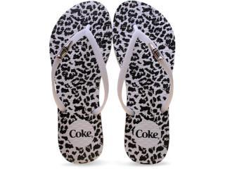 Chinelo Feminino Coca-cola Shoes Cc2102 Onca Branco/preto - Tamanho Médio