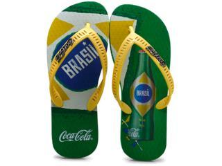 Chinelo Masculino Coca-cola Shoes Cc0567 Amarelo/verde - Tamanho Médio