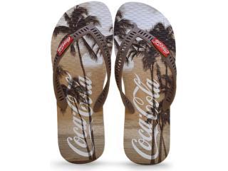 Chinelo Masculino Coca-cola Shoes Cc2101 Branco/marrom - Tamanho Médio
