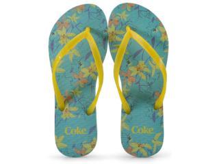 Chinelo Feminino Coca-cola Shoes Ccl2300 Aqua/amarelo - Tamanho Médio