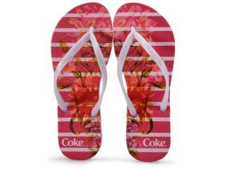 Chinelo Feminino Coca-cola Shoes Ccl2349 Pink/branco - Tamanho Médio