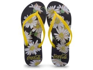 Chinelo Feminino Coca-cola Shoes Ccl2391 Preto/amarelo - Tamanho Médio