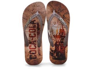 Chinelo Masculino Coca-cola Shoes Cc2432 Bege/marrom - Tamanho Médio