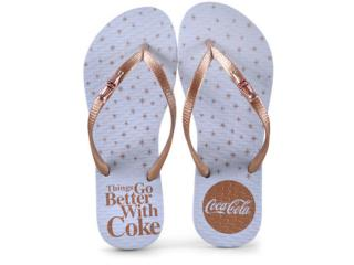 Chinelo Feminino Coca-cola Shoes Cc2609 Branco/cobre - Tamanho Médio