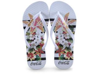 Chinelo Feminino Coca-cola Shoes Cc2581 Branco - Tamanho Médio