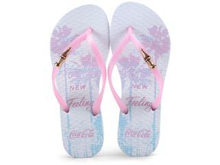 Chinelo Feminino Coca-cola Shoes Cc2526 Branco Gloss - Tamanho Médio