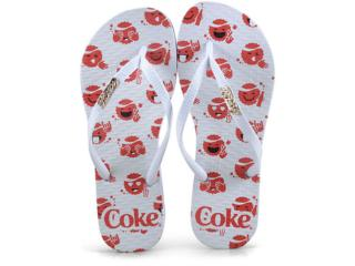 Chinelo Feminino Coca-cola Shoes Cc2518 Branco - Tamanho Médio