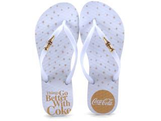 Chinelo Feminino Coca-cola Shoes Cc2609 Branco - Tamanho Médio