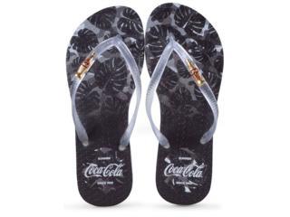 Chinelo Feminino Coca-cola Shoes Cc2586 Branco/preto Cristal - Tamanho Médio