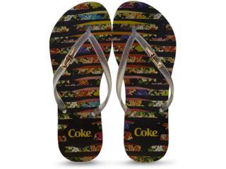 Chinelo Feminino Coca-cola Shoes Cc2252 Preto/cristal - Tamanho Médio