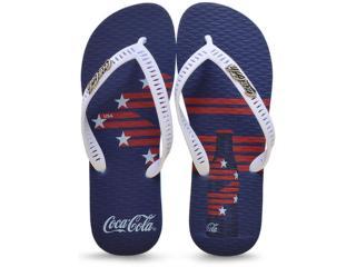 Chinelo Masculino Coca-cola Shoes Cc2217 Azul/branco - Tamanho Médio