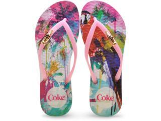Chinelo Feminino Coca-cola Shoes Cc2185 Branco/rosa - Tamanho Médio