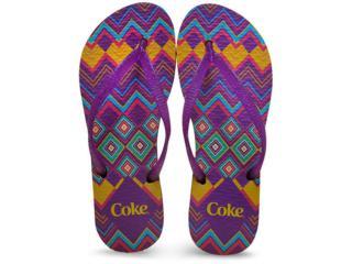 Chinelo Feminino Coca-cola Shoes Ccl2188 Preto/roxo - Tamanho Médio