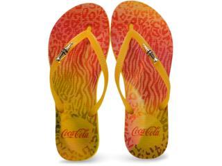 Chinelo Feminino Coca-cola Shoes Cc2248 Amarelo - Tamanho Médio