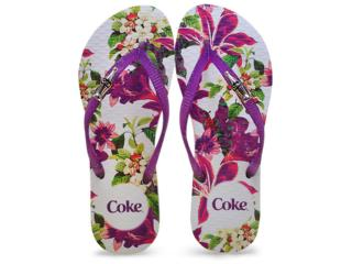 Chinelo Feminino Coca-cola Shoes Cc2250 Branco/roxo - Tamanho Médio
