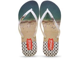 Chinelo Feminino Coca-cola Shoes Cc2086 Branco - Tamanho Médio