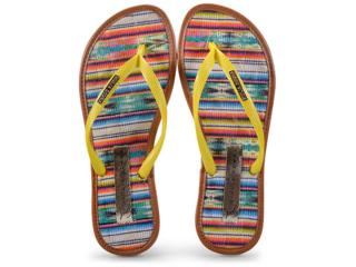 Feminino Giulia Domna 018.26/172 Chinelo+bolsa Amarelo/listras Multicolor - Tamanho Médio