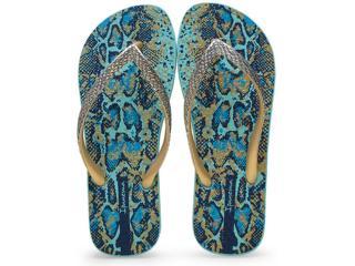 Chinelo Feminino Grendene 25875 Ipanema Fashion Skin  Azul/dourado - Tamanho Médio
