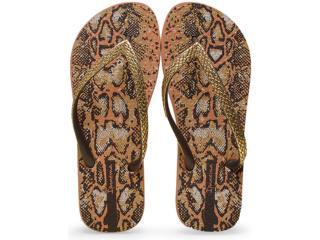 Chinelo Feminino Grendene 25875 Ipanema Fashion Skin  Marrom/dourado - Tamanho Médio