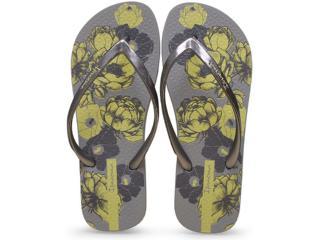 Chinelo Feminino Grendene 25967 Ipanema Style Cinza/amarelo - Tamanho Médio