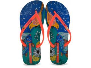 Chinelo Feminino Grendene 25905 Ipanema i Love Arts  Azul/laranja - Tamanho Médio