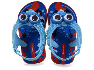 Chinelo Masc Infantil Grendene 26159 Ipanema Fluffy Vermelho/azul - Tamanho Médio