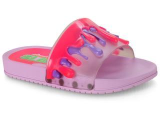 Chinelo Fem Infantil Grendene 22153 24250 Slime Nickelodeon Slide Lilas/rosa - Tamanho Médio