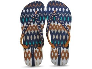 Chinelo Feminino Grendene 25720 Ipanema Fashion Azul/marrom - Tamanho Médio