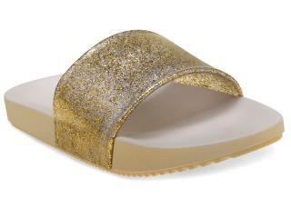 Tamanco Feminino Grendene 17333 Zaxy Snap Gasp Dourado Gliter - Tamanho Médio