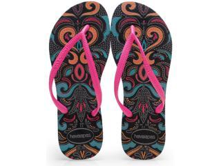 Chinelo Feminino Havaianas Slim Lace Preto/rosa - Tamanho Médio