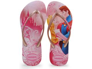 Chinelo Fem Infantil Havaianas Kids Slim Princess Rosa/rose - Tamanho Médio