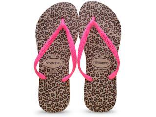 Chinelo Feminino Havaianas Slim Animals Areia/pink - Tamanho Médio