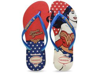 Chinelo Feminino Havaianas Slim Heroinas Branco/azul/vermelho - Tamanho Médio