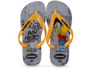 Chinelo Masculino Havaianas Simpsons Cinza/amarelo - Tamanho Médio