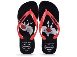 Chinelo Masculino Havaianas Looney Tunes  Preto/vermelho - Tamanho Médio