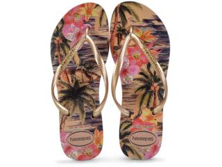 Chinelo Feminino Havaianas Slim Tropical Marfim - Tamanho Médio