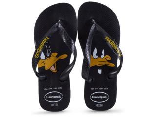 Chinelo Masculino Havaianas Looney Tunes Preto - Tamanho Médio