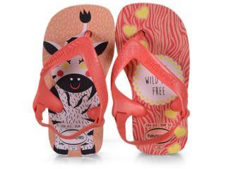 Chinelo Fem Infantil Havaianas New Baby Pets Rosa Seda/coral - Tamanho Médio