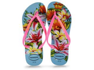 Chinelo Feminino Havaianas Slim Floral fc Azul - Tamanho Médio