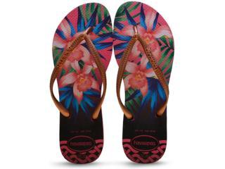 Chinelo Feminino Havaianas Slim Tropical Rosa - Tamanho Médio