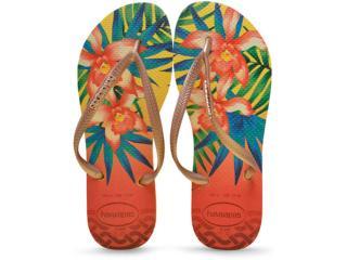 Chinelo Feminino Havaianas Slim Tropical Amarelo Claro - Tamanho Médio