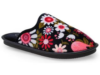 Chinelo Feminino Leffa 767 Floral Preto - Tamanho Médio