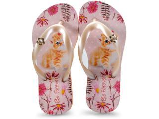 Chinelo Fem Infantil Rafitthy 118.81701 Cat Garden Perola/rosa - Tamanho Médio